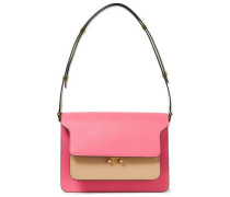 Woman Trunk Color-block Textured-leather Shoulder Bag Pink