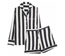 Devon striped silk-blend satin pajama set