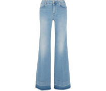 Frayed wide-leg jeans