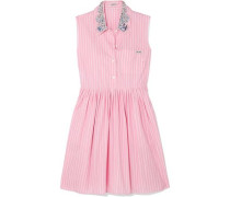 Embellished Striped Cotton-poplin Mini Dress Baby Pink