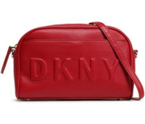 Embossed Faux Leather Shoulder Bag Claret Size --