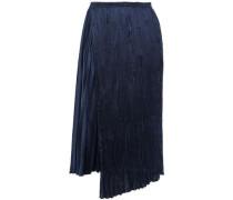 Wrap-effect Asymmetric Pleated Satin-crepe Midi Skirt Navy