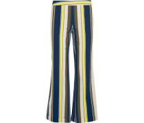 Rhodia cropped striped slub silk wide-leg pants