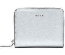 Metallic Textured-leather Wallet Silver Size --