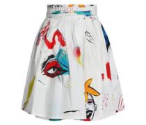 Printed srtetch-cotton-poplin mini skirt
