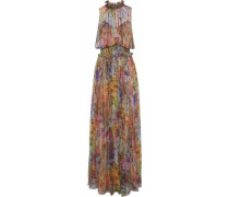 Shirred printed silk-georgette gown
