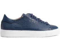 Croc-effect Leather Sneakers Navy