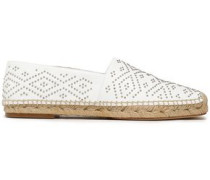 Beaded leather espadrilles
