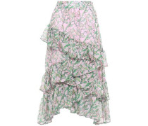Tiered Voile Midi Skirt Pink