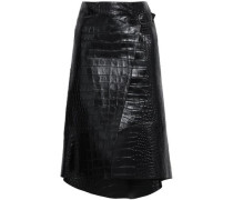 Asymmetric Croc-effect Leather Wrap Skirt Black