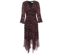 Woman Asymmetric Floral-print Silk-georgette Dress Black