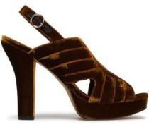 Tabby Quilted Velvet Platform Slingback Sandals Bronze