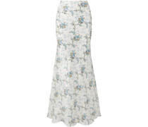 Sophie Floral-print Silk-taffeta Maxi Skirt Ivory