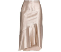 Asymmetric Silk-satin Skirt Cream