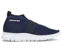 Embroidered Stretch-knit Slip-on Sneakers Indigo