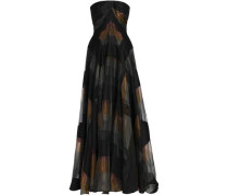 Strapless Cotton-blend Organza And Jacquard Gown Black