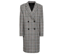 Double-breasted Checked Wool-blend Coat Black