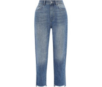 Addison Cropped Distressed High-rise Straight-leg Jeans Mid Denim