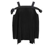 Cold-shoulder Grosgrain-trimmed Washed-silk Top Black