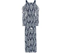 Cold-shoulder Printed Georgette Maxi Dress Navy