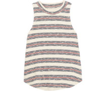 Striped ribbed cotton-blend top