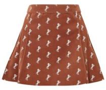 Woman Embroidered Cotton-blend Velvet Mini Skirt Brown
