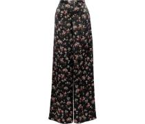 Tommy Floral-print Silk-charmeuse Wide-leg Pants Black