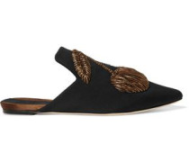 Ciliegia embroidered twill slippers
