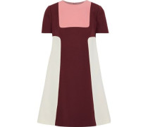Woman Color-block Wool And Silk-blend Mini Dress Burgundy