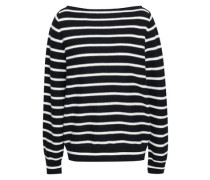 Striped Cotton Sweater Midnight Blue