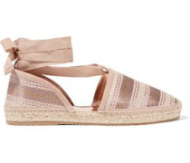 Lace-up striped woven espadrilles