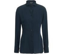 Silk-crepe Shirt Navy