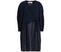 Paneled hammered-satin and crepe wrap dress