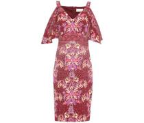 Cold-shoulder Draped Printed Cloqué Dress Merlot