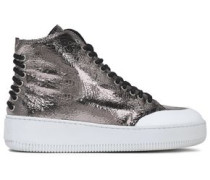 Metallic Cracked-leather High-top Sneakers Silver