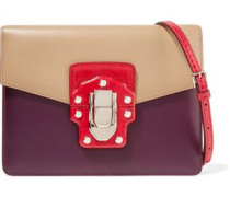 Color-block ayers and leather shoulder bag