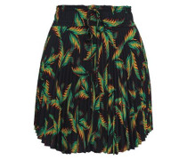 Scout Pleated Printed Crepe De Chine Mini Skirt Black