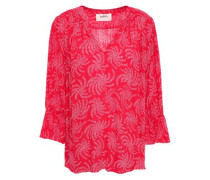 Chik Gathered Printed Voile Blouse Bright Pink Size 1