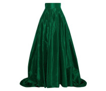 Flared Pleated Silk-taffeta Maxi Skirt Emerald