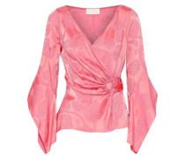 Satin-jacquard Wrap Top Pink