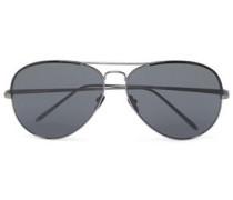 Aviator-style acetate and gunmetal-tone sunglasses