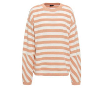 Striped Open-knit Cotton Sweater Blush