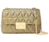 Quilted Metallic Printed Leather Shoulder Bag Gold Size --