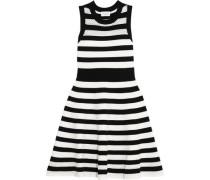 Pointelle-trimmed striped cotton mini dress