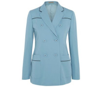 Double-breasted faux leather-trimmed wool-gabardine blazer