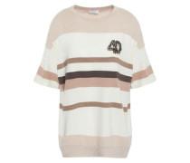 Embellished Striped Cashmere Top Beige
