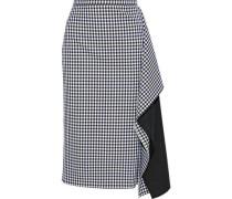 Ruffled woven-paneled gingham twill skirt