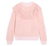 Ruffled cotton-blend velvet sweatshirt