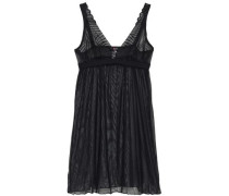 Lace And Stretch-tulle Chemise Black