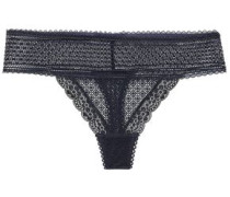 Katie Kissing Stretch-lace Mid-rise Thong Navy